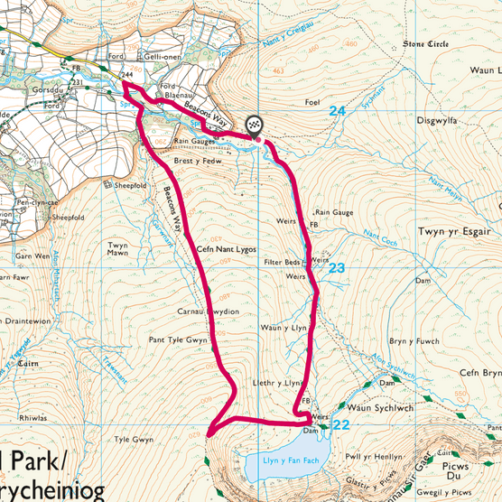 Llyn y Fan Fach map