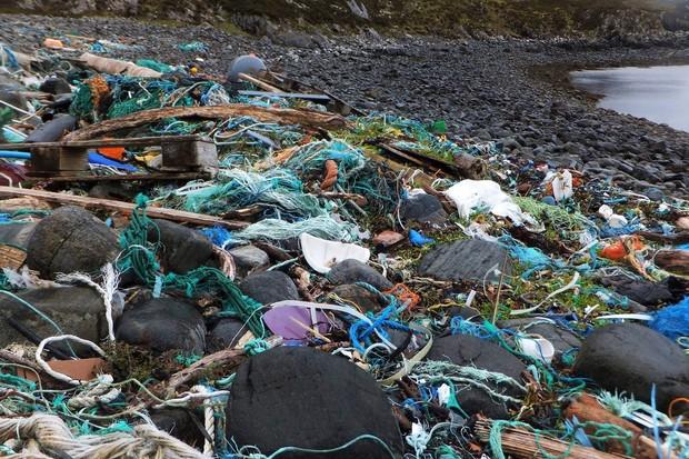 Rubbish on beach in north-west Scotland