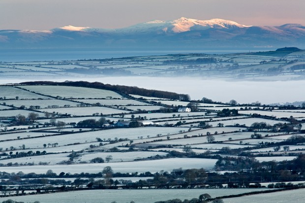 View of Snowdonia from the Presell Hills in Pembrokeshire Coast National Park,