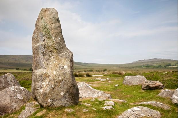 Standing stone in the Preseli Hills, Pembrokeshsire, Wales