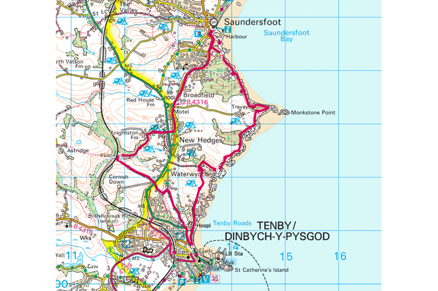 Saundersfoot to Tenby map
