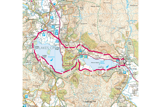 Rydal Water and Grasmere, Cumbria map