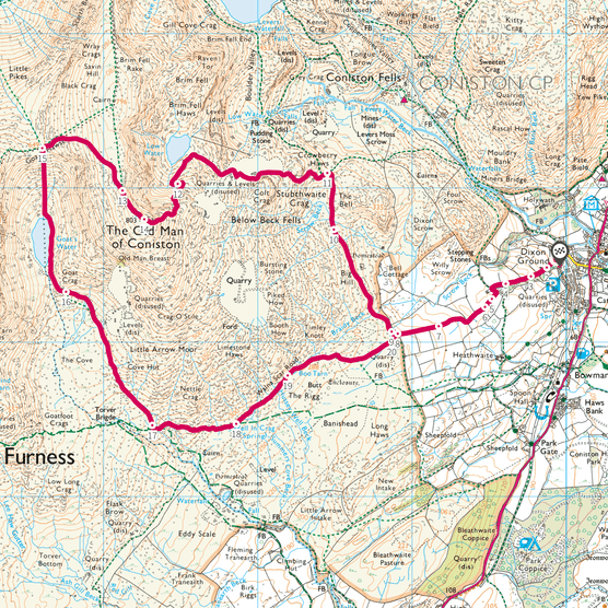 Old Man of Coniston map
