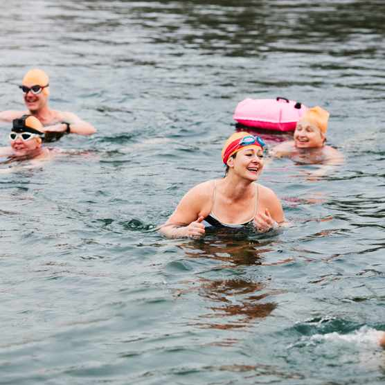 Group of women swimming