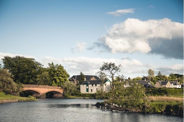 River Teith and bridge in the village of Callander, Scotland