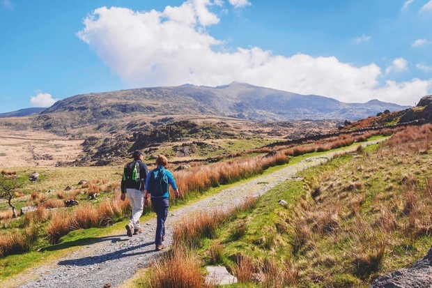 Walkers make their way up to the summit of Snowdon, Gwynedd