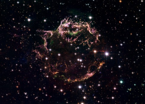 A detailed view at the tattered remains of a supernova explosion known as Cassiopeia A.