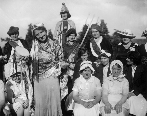 19th June 1937:  A tableau given by Blackwood WI (Women's Institute) at a garden fete held in Abergaveny. The theme was the Empire.  (Photo by Carr/Fox Photos/Getty Images)