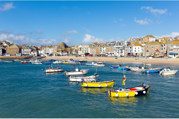 St Ives Cornwall England with boats in the harbour