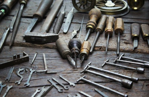 Work tools on a wooden table