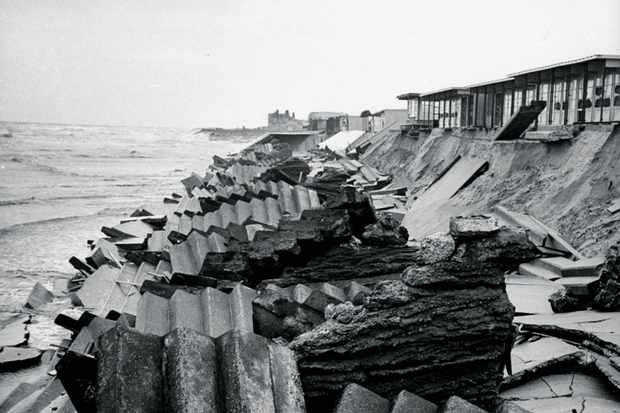 The sea wall destroyed by the floods.  (Photo by Carl Mydans//Time Life Pictures/Getty Images)