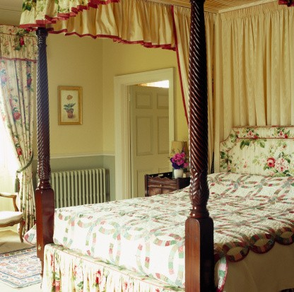 Close-up of a canopied four poster bed