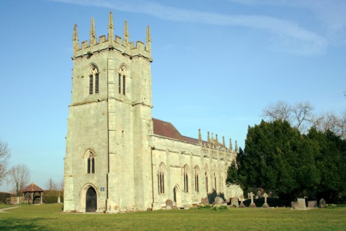 landscape view of battlefield church, built in 1403 to comemorate the Battle of Shrewsbury