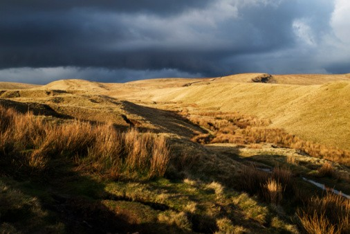 Storm clouds gathering over Pendle Hill in Lancashire