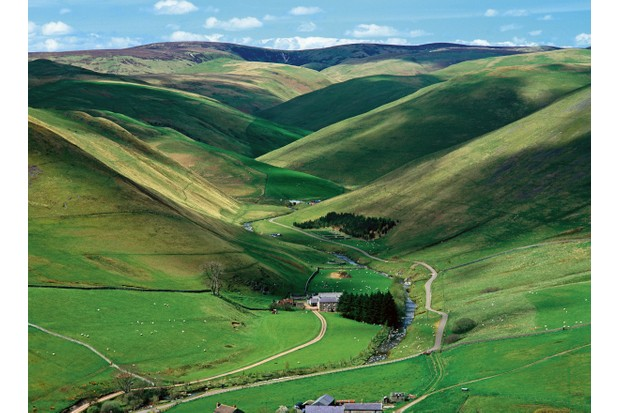 The River Coquet snakes through the hills of Upper Coquetdale in Northumberland National Park