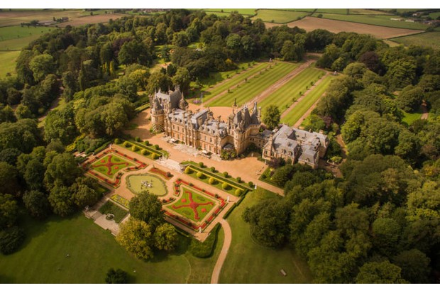 An aerial view of Waddesdon Manor