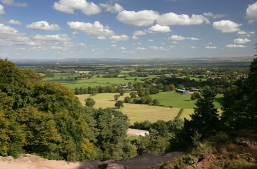 Area of Alderley, England. View from Stormy Point looking east across the Cheshire plain towards the Peak District National Park.