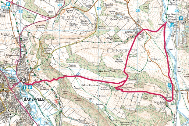 Bakewell to Chatsworth House map