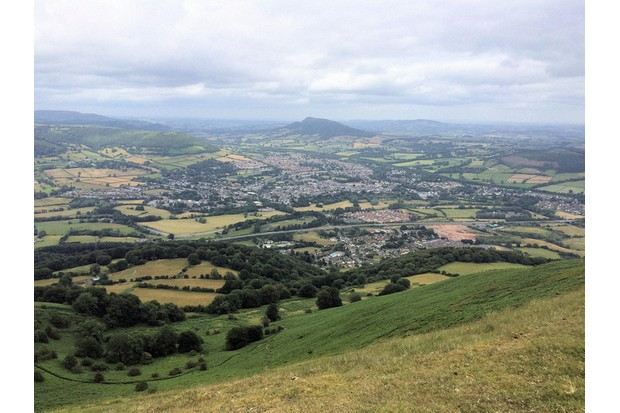 View of Abergavenny from the summit of Blorenge, with Skirrid in the background