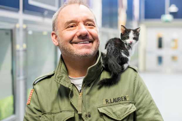 02/02/2018 - Ciaran McCrickard Photography - Comedian Bob Mortimer visits Cats Protection National Cat Centre, Chelwood Gate, East Sussex, and visits the cats he has named.
