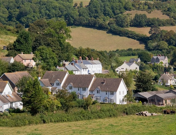 village white houses rural countryside devon england uk