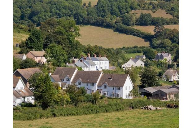 village white houses rural countryside devon england uk