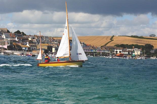 C76CCN Salcombe Yawl sailing in a blow   in   Salcombe Yacht Club's  regatta from East Portlemouth Beach Salcombe  Devon