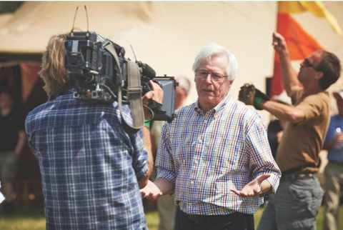 John Craven filming for Countryfile