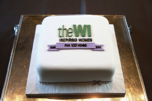 A cake presented to Queen Elizabeth II celebrating 100 Years of the Women's Institute at the Centenary Annual Meeting of The National Federation Of Women's Institute at the Royal Albert Hall in London.