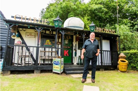 Richard Pim, from Pembridge and his shed Charlie Browns, a finalist in the pub category of the 2014 Shed of the Year competition sponsored by Cuprinol. The shed has been selected from over 2,000 entries by more than 20,000 public votes. The winner will be announced during Channel 4's Amazing Spaces: Shed of the Year series, to be aired over three episodes, starting on 24th July at 8pm. As well as the prestigious title, the winner will receive £1,000 courtesy of sponsors Cuprinol and a commemorative winners wooden plaque for their shed.