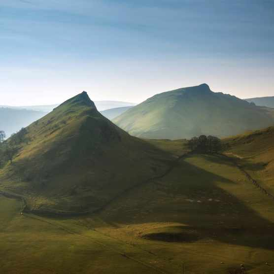 Parkhouse Hill and Chrome Hill in Peak District at sunset.