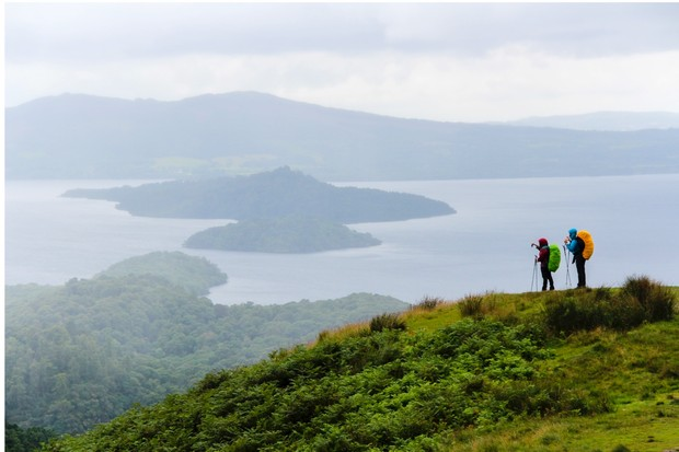 Loch Lomond stretches for miles below Conic Hill