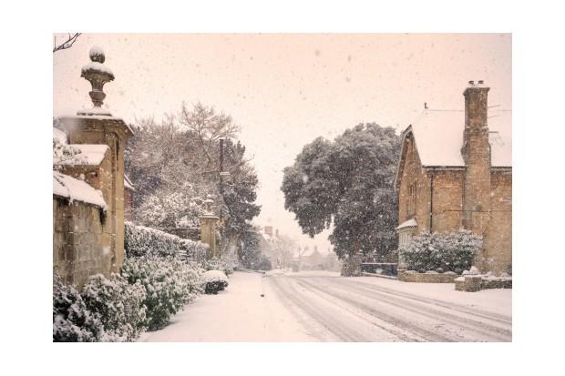 English village with snow