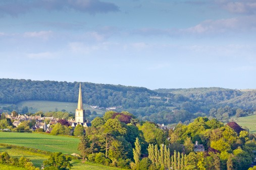 Church Spire, Idyllic rural, Cotswolds UK