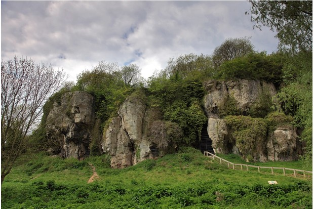 Creswell Crags Lake, Ice Age Caves in Spring Green Woodland, Worksop, Nottinghamshire, England, Britain, UK,