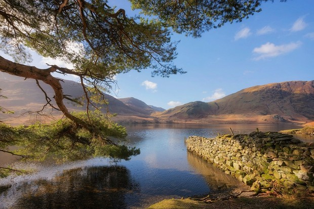 Crummock water bathed in sunlight