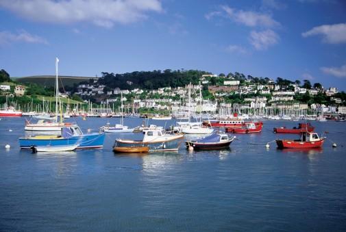 Boats docked at Dartmouth Harbor, Devon, England