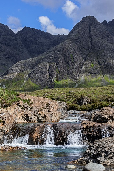Waterfall of the Fairy Pools in front of the Black Cuillin in Glen Brittle on the Isle of Skye, Scottish Highlands, Scotland, United Kingdom. (Photo by: ARTERRA/UIG via Getty Images)