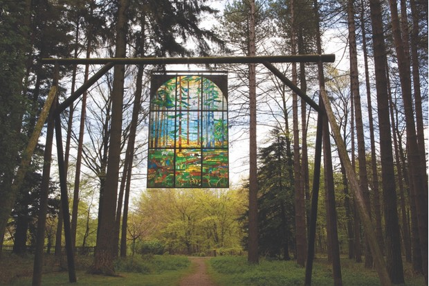 BAYRP2 UK Gloucestershire Forest of Dean Sculpture Park Cathedral by Kevin Atherton 1986 suspended stained glass panel