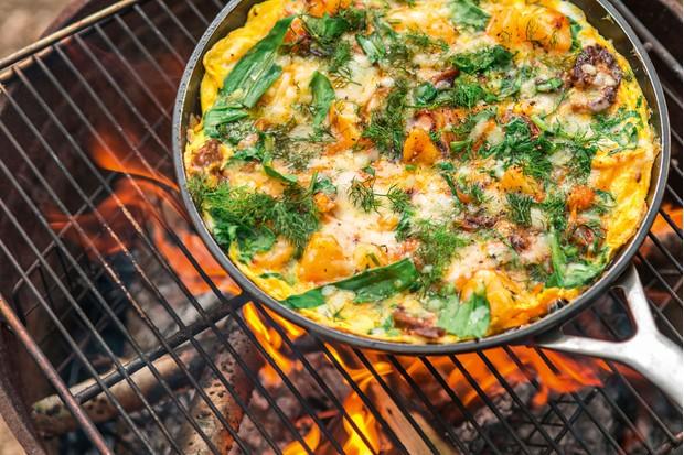 Wild garlic, potato and chorizo tortilla