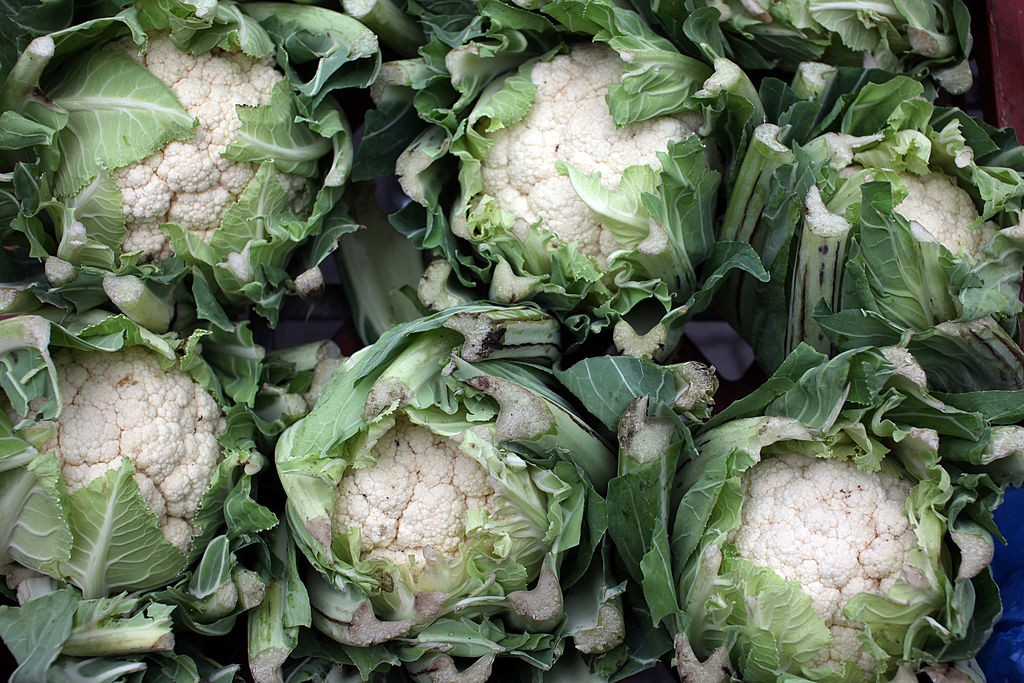 Cauliflowers sit on display at a farmer's market in London, U.K., on Wednesday, Jan. 26, 2010. Rising food costs threaten economic growth and are frustrating efforts to tackle global poverty and hunger, OECD Secretary-General Jose Angel Gurr'a said. Photographer: Chris Ratcliffe/Bloomberg via Getty Images