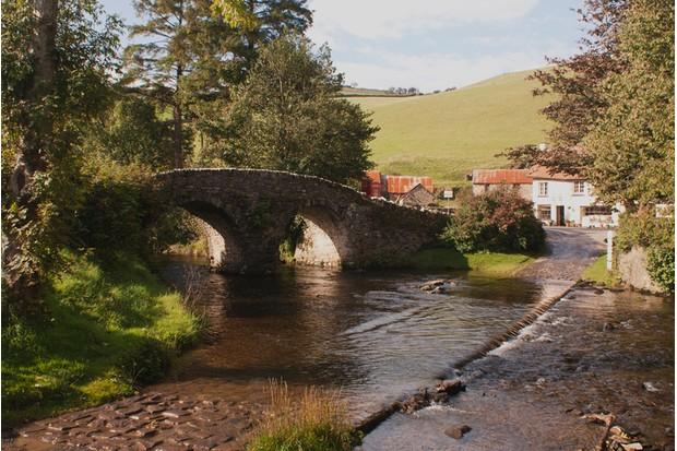Malmsmead Bridge crosses near Lorna Doone Farm in Exmoor