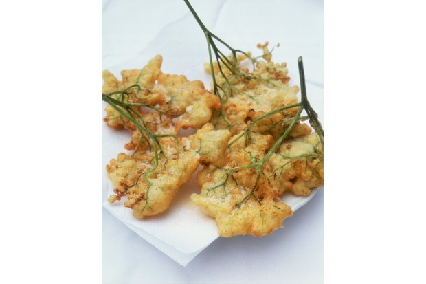 Elderflower fritters, close up