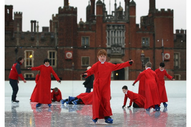 LONDON, ENGLAND - DECEMBER 19:  Members of Chapel Royal Choirboys choir attempt to skate during a photocall at the Hampton Court Ice Rink on December 19, 2011 in London, England. The event was aimed at highlighting a new charity, 'The Choral Foundation', which is hoping to raise ?1.5M GBP to fund choir led music lessons for the choristers and the refurbishment of the historic organ in the Chapel.  (Photo by Dan Kitwood/Getty Images)