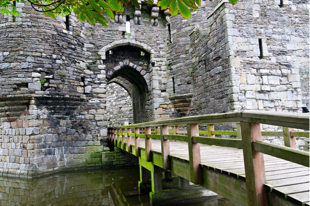 Entrance to Beaumaris Castle in Anglesey, Wales, UK