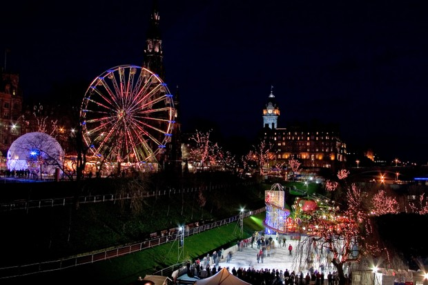 Fair and open air ice rink in the centre of Edinburgh in winter