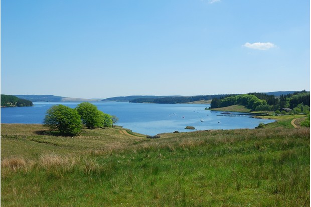 Kielder Water and bay in Northumberland England from viewpoint