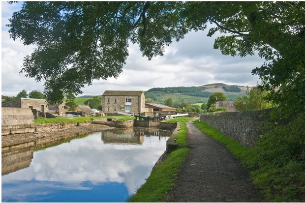 View of locks and Eshton Road bridge over Leeds Liverpool Canal at Gargrave.