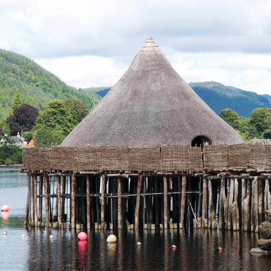 Crannog, reconstructed prehistoric dwelling on Loch Tay, near Aberfeldy.
