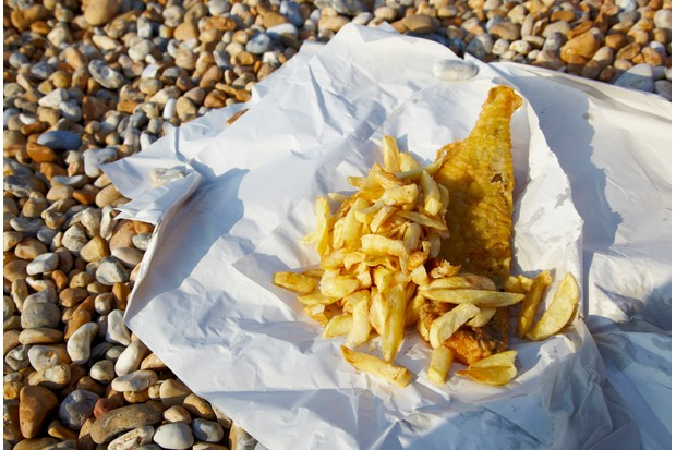 Tradional Fish n chips on the beach